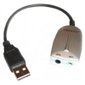 Orient <AU-01PLW> USB адаптер для  микрофона  и наушников